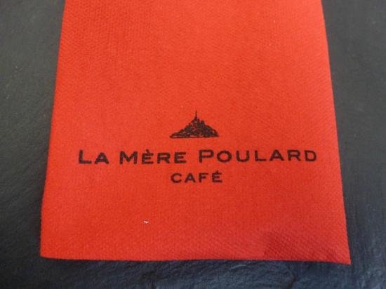napkin picture of la mere poulard cafe mont st michel. Black Bedroom Furniture Sets. Home Design Ideas