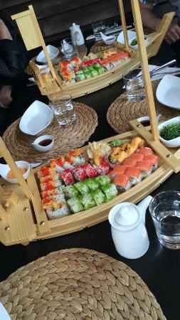 Maloy, Norway: sushi lunch with friends