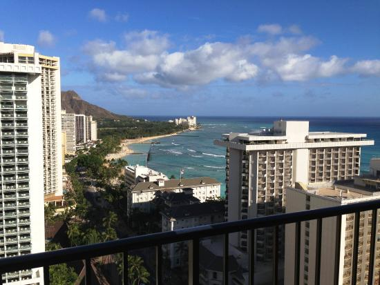 diamond head view from ocean view room from balcony. Black Bedroom Furniture Sets. Home Design Ideas