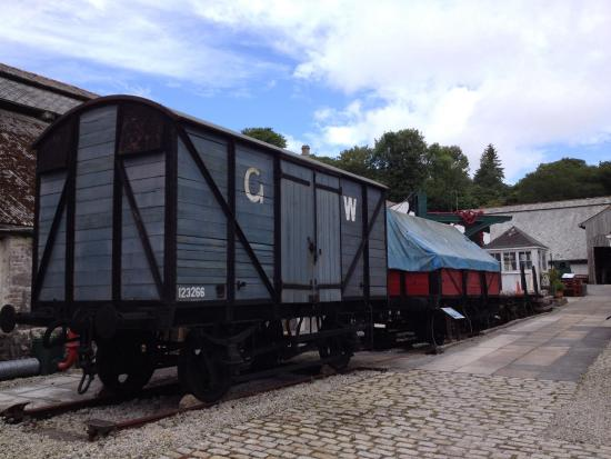 St Austell, UK: Wagons plus a rescued crane and a salvaged level crossing box!!