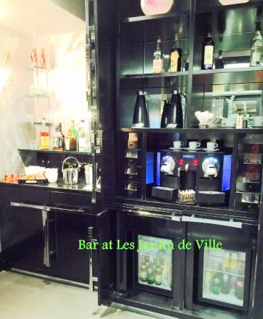 Honor bar with lots of goodies of all kinds and alcohol for Les jardins de la villa spa paris france