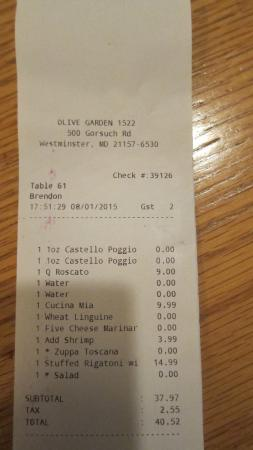Receipt picture of olive garden westminster tripadvisor for Olive garden westminster maryland