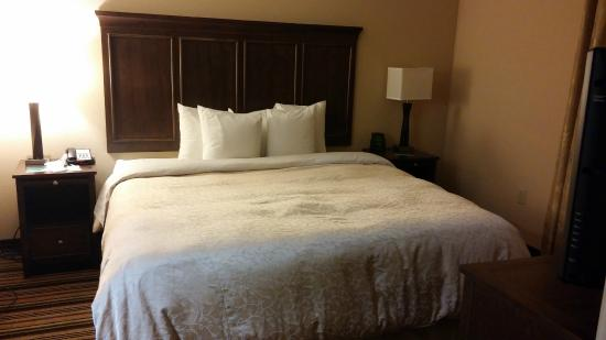 Homewood Suites Charlotte/Ayrsley: Notorious bed pillows (yes, I already messed up bed and night stand)
