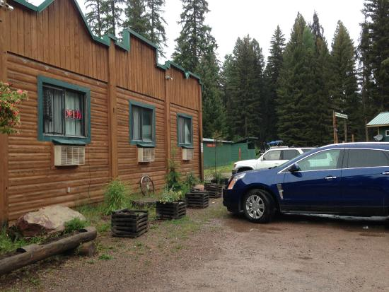 Seeley Lake, MT: The Montana Pines on a rainy day in July -- an old-fashioned Montana hideaway getaway.