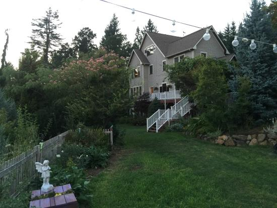 Husum, WA: View from the gardens back towards the back of the house.