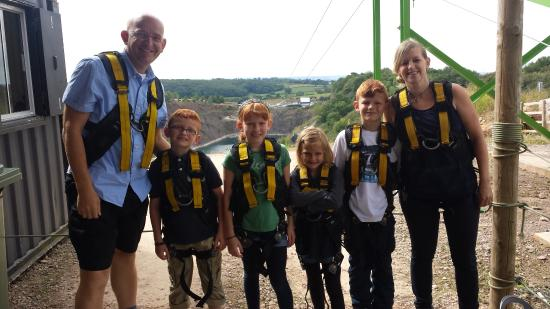 Chepstow, UK: The family before the ride!