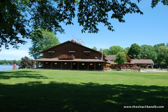 White Cloud, MI: The Main Lodge from the Covered Bridge