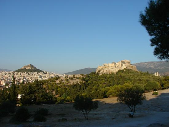 View of Lykavittos, Areopagus and Acropolis from the Pnyx