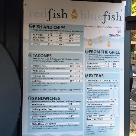 Daily specials board picture of red fish blue fish for Fish district menu