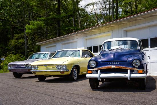 Mountainhome, PA: Classic Cars behind Callie's Candy Kitchen