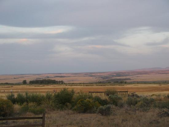Frenchglen, OR: View east across the highway from the front of the hotel
