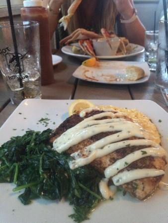 Grilled mahi with stuffed crab yum picture of hot fish for Hot fish club murrells inlet