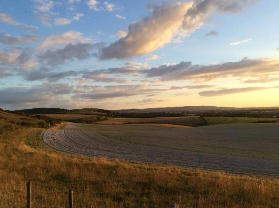 Ivinghoe, UK: View back down towards the site