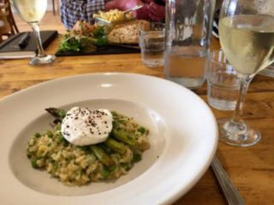 Pea and asparagus risotto with poached egg: The Plough, Gt ...