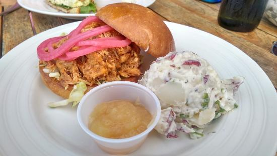 Pulled pork sandwich with dill potato salad and applesauce for Cookery fish creek