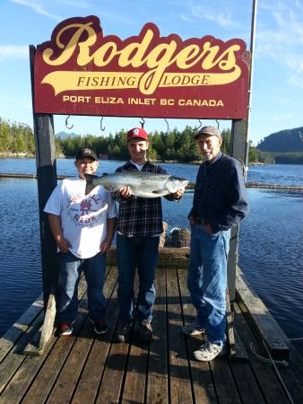 Tahsis, Canada: Grampa with grandsons and monster Coho