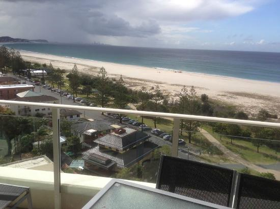 view looking forward from deck over kirra beach. Black Bedroom Furniture Sets. Home Design Ideas