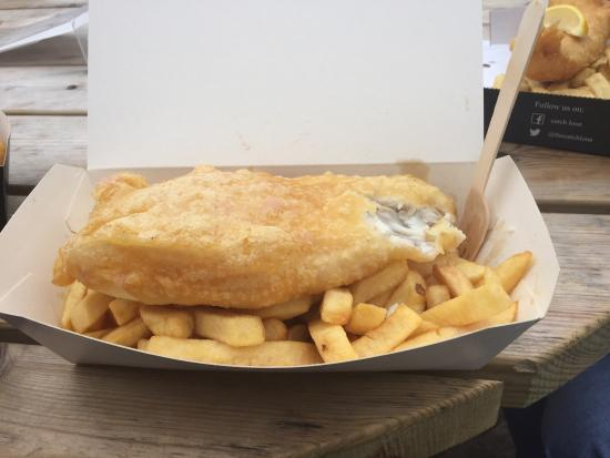 Amazing gluten free fish and chips even gf vinegar huge for Gluten free fish and chips