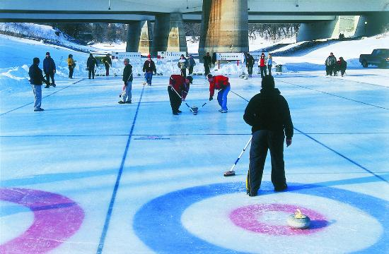 Manitoba, Canada: Curling on the river