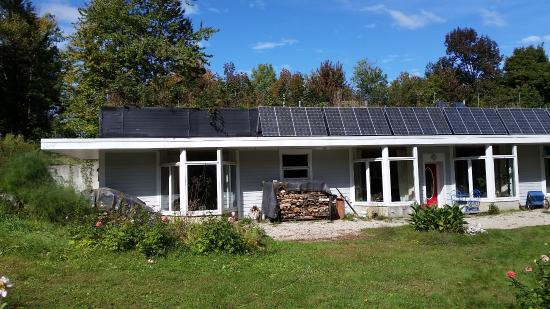 Chesterfield, MA: South side of house with the solar photovoltaic panels on the roof