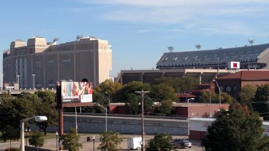 Memorial Stadium View From Hotel Picture Of Hilton Garden Inn Lincoln Downtown Haymarket
