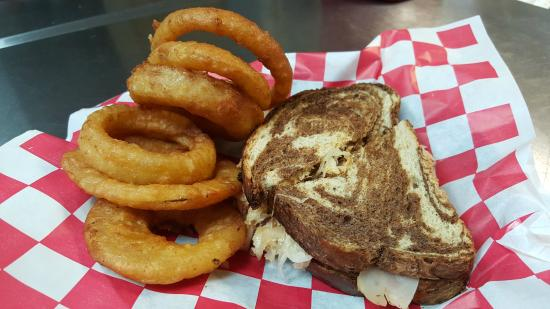Williamston, NC: Grilled Reuben with Jumbo Crispy Onion Rings