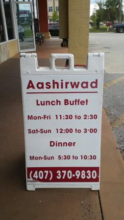 Timing picture of indian cuisine aashirwad orlando for Aashirwad indian cuisine