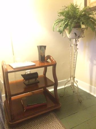 Falls Village, CT: Bedside table and greenery