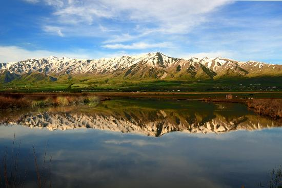 Beautiful Wellsville Mountains are the backdrop for Logan and Cache Valley, Utah