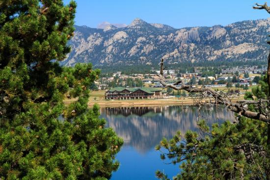 The Estes Park Resort: view from across lake to property