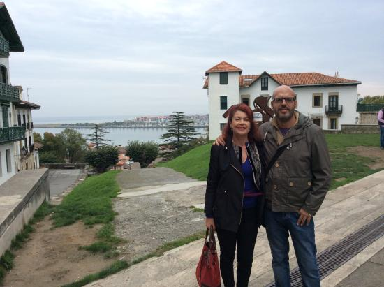 Basque Country, France: Our guide Mikel & I at the river between Spain & France at Hondarribia