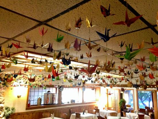 Origami Birds Hanging In The Main Dining Area Picture Of