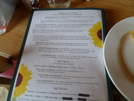 Harbor Springs, Мичиган: Menu for lunch at the Garden Cafe.