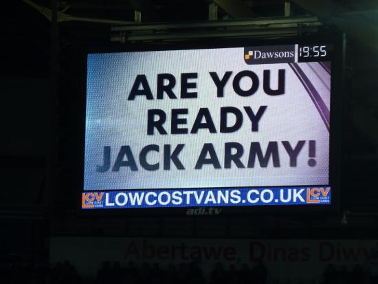 South Wales, UK: Large screen announcement