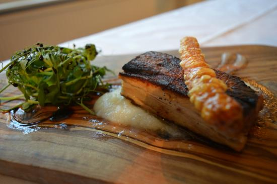 Buckden, UK: 12 hour slow cooked pork belly, cauliflower puree, crackling pencil, apple sauce