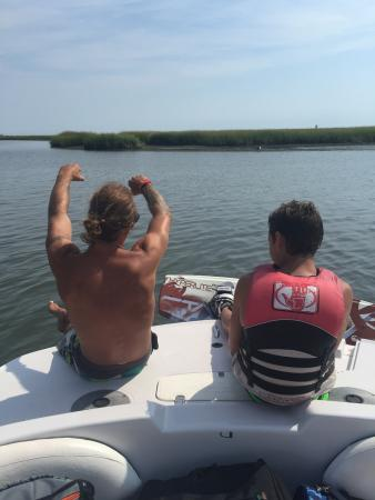 Stone Harbor, NJ: Best time ever  Call and book a wakeboard trip with Capt. Brody. He is patient and fun filled fo