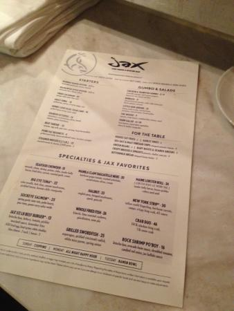 menu picture of jax fish house denver tripadvisor