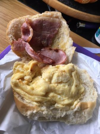 West Linton, UK: Nuked scrambled egg and cheap bacon, no thanks