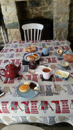 Lanivet, UK: Table laid out for Afternoon Tea with the goodies