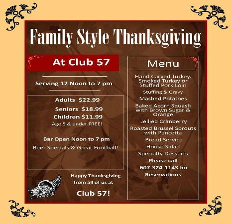 Hornell, NY: FAMILY STYLE THANKSGIVING