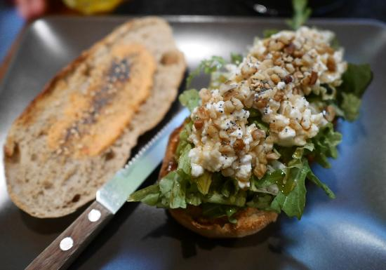 Goat cheese, honey, nuts sandwich - Picture of A Sandeira, Porto ...