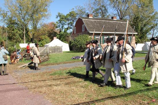 River Edge, NJ: Campbell-Christie House, 1774. Photo taken during a reenactment. Gambrel roof.