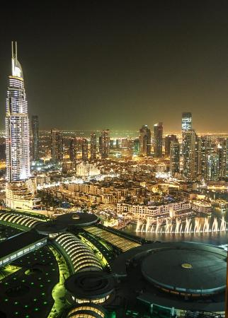 The Address Dubai Mall: night view and fountains