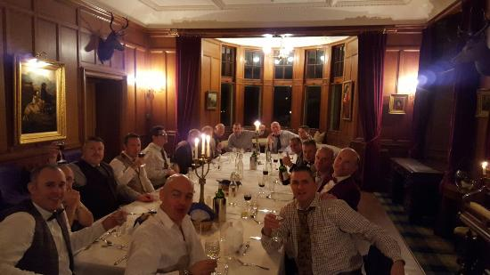 Acharacle, UK: The troops enjoy another fabulous meal in the castle.