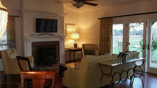 The farmhouse and barn cottage are nestled in a beautiful setting even in the