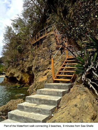 Belmont, Bequia: Part of the waterfront walk, 8 minutes from Sea Shells