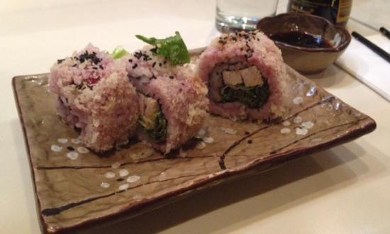 ... Sushi maki with cranberry infused rice, rolled with turkey and salad