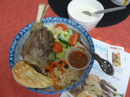 Lamb shank with flavoured rice and salad picture of for Afghan cuisine toronto