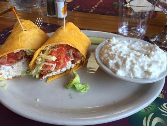 Averill Park, NY: Chicken Salad Bacon Wrap w/side of choice, cottage cheese