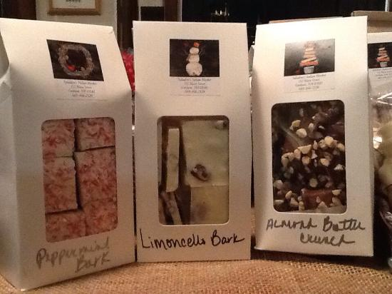 Gorham, NH: Michael has been busy making his fabulous homemade chocolates!! Almond butter crunch, peppermint